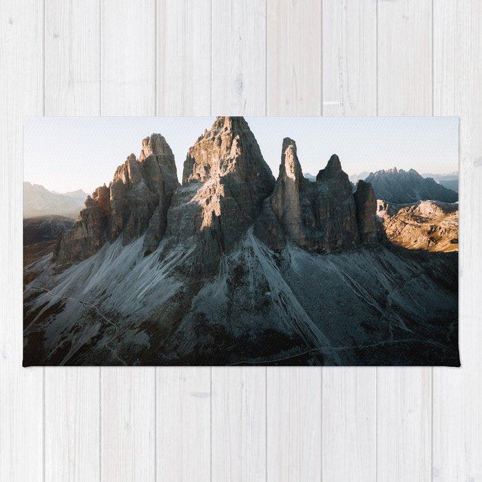 Tre Cime in the Dolomites Mountains at dusk - Landscape Photography Rug