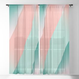 Soft Pink Peach Amber Yucca and Arbor Green Seamless Ombre Sheer Curtain