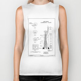 Statue of Liberty Structural Schematic Biker Tank