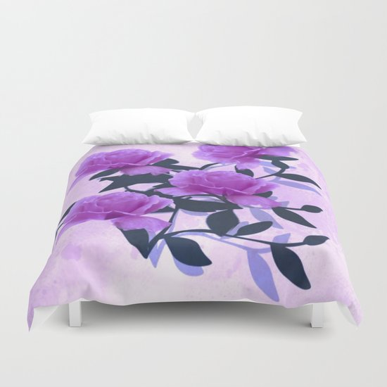 Lavender Floral Love Abstract Duvet Cover