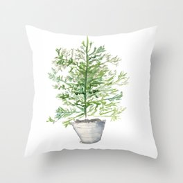 Christmas Tree in Galvanized Bucket Throw Pillow