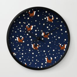 Foxes and stars pattern Wall Clock