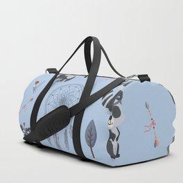 Boho Racoons Pattern Duffle Bag
