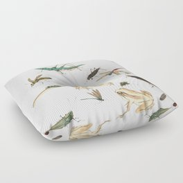 Insects, frogs and a snail Floor Pillow