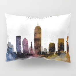 Indianapolis Watercolor Skyline Pillow Sham
