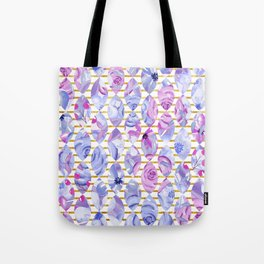 Watercolor pattern and gold Tote Bag