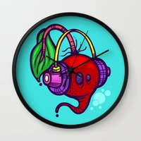 fat Wall Clocks featuring Fat Beets by Artistic Dyslexia