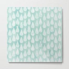 Big Drops Blush Blue Metal Print