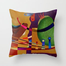 Abstract color game and lines Throw Pillow