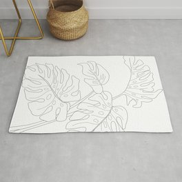Line Art Monstera Leaves Rug
