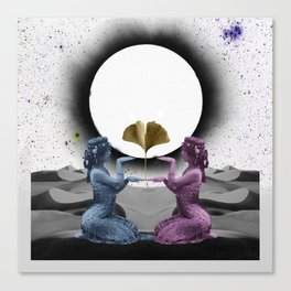 eclipse - two women and a ginkgo leaf with a sun and moon kiss in the sky Canvas Print
