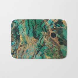 Green and Gold marbled paper Bath Mat