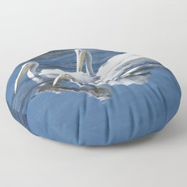 Ballet Of Pelicans Gliding Across Tranquil Lake Floor Pillow