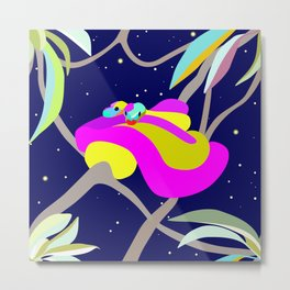 Graphic colorful illustration of two pythons on a tree Metal Print