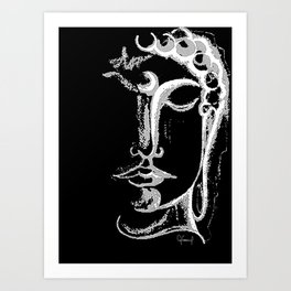 BLACK & WHITE BUDDHA ILLUSTRATION Art Print