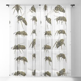 wasp hornet insect Sheer Curtain