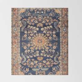 Sarouk Persian Floral Rug Print Throw Blanket