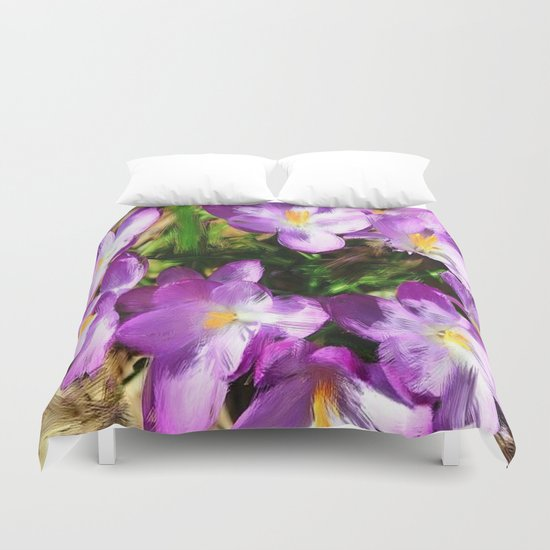 Spring In the Air - Painterly Crocuses Duvet Cover