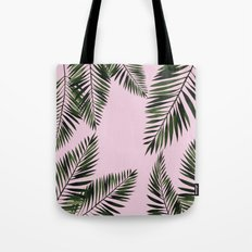 Watercolor tropical palm leaves pink Tote Bag