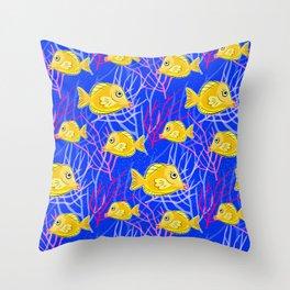 Tropical Fish Tank Throw Pillow