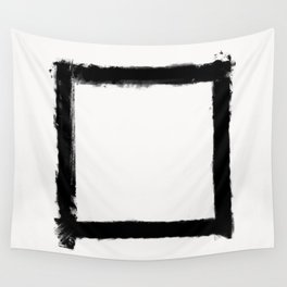 Square Strokes Black on White Wall Tapestry