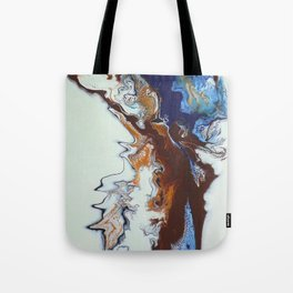 Fluid Gold, Blue and Brown Abstract Painting -Rule the World Tote Bag