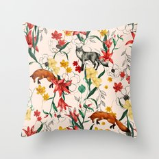Floral Fox Throw Pillow