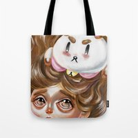 puppycat Tote Bags featuring A Bee and her PuppyCat by Kristin Frenzel