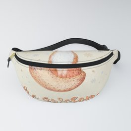 Be awesome today  - Watercolor animal illustration and Typography Fanny Pack
