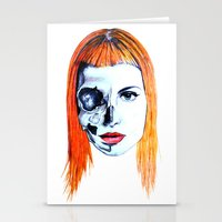 hayley williams Stationery Cards featuring Half Skull Half Hayley by anetambiel