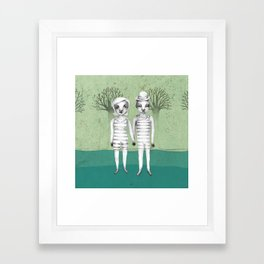 gymnast couple in the forest Framed Art Print