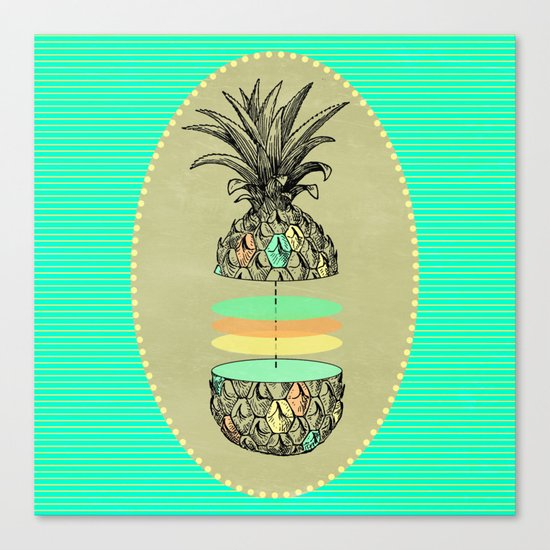 Sliced pineapple Canvas Print