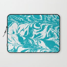 Mio - spilled ink turquoise watercolor marble marbled pattern japanese painting Laptop Sleeve