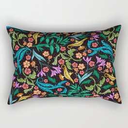 Asian-Inspired Floral Pattern With Gold Magical Lanterns Rectangular Pillow