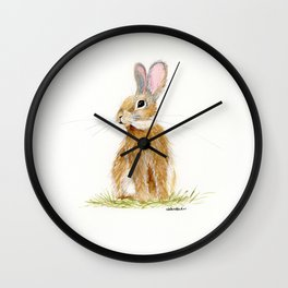 Butterscotch Rabbit - animal watercolor painting Wall Clock