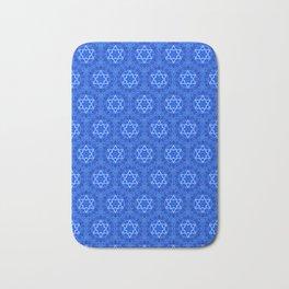Jewish Israel Star of David Kaleidoscope Navy Blue White Pattern Pretty abstract beautiful Decor Bath Mat