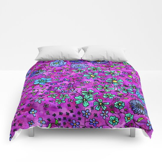 Blue Small Flowers Comforters