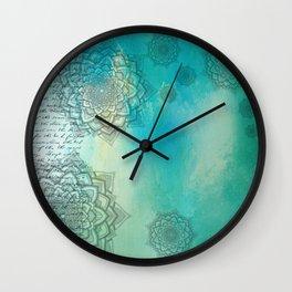 MANDALA COLLAGE ON Aqua Watercolor Wall Clock