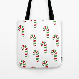 Green and Red Striped Candy Canes Tote Bag