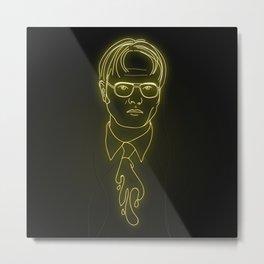Dwight Schrute Neon Metal Print