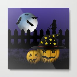 Halloween Pumpkins Black Cat Moon and Bats Metal Print