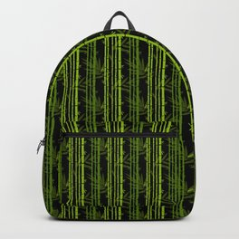Green Bamboo Shoots and Leaves Pattern on Black Backpack