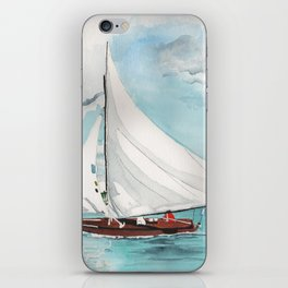 Sail Away watercolor painting of sailboat on turquoise waters iPhone Skin