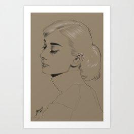 Audrey Hepburn monochrome Art Print