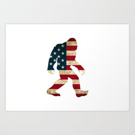 Bigfoot american flag Art Print