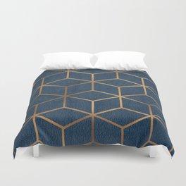 Dark Blue and Gold - Geometric Textured Cube Design Duvet Cover