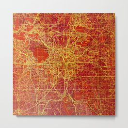 Antique Colorful Map, Orlando 1955, Red Vintage Abstract Map Metal Print