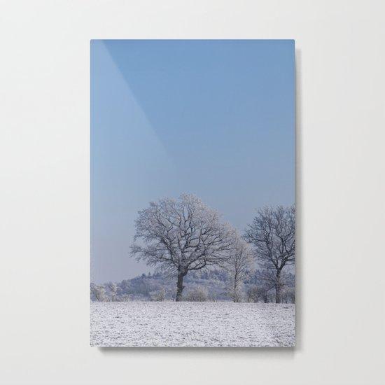 winter walk rural snow landscpape north Germany Metal Print