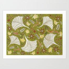 Rustic Earth-Green Floral Patten Art Print