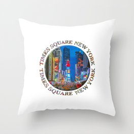 Times Square Broadway (New York Badge Emblem on white) Throw Pillow